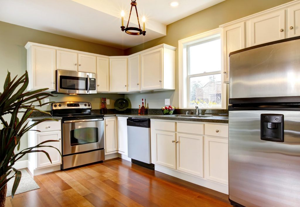 clean kitchen with indoor plant and other appliances